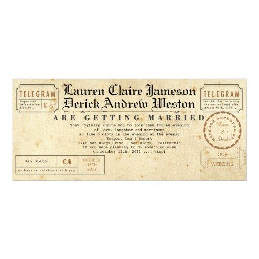 Vintage Telegram Tea Length Invitation 4 X Invitation Card
