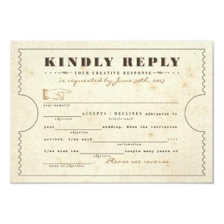 Vintage Telegram Ticket Mad Libs Response Card Personalized Invitations
