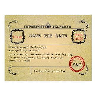 Vintage telegram wedding save the date postcard