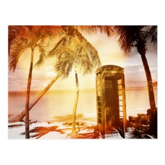 Vintage telephone booth yellow glow postcard