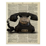 Vintage Telephone Dictionary Art Print Poster
