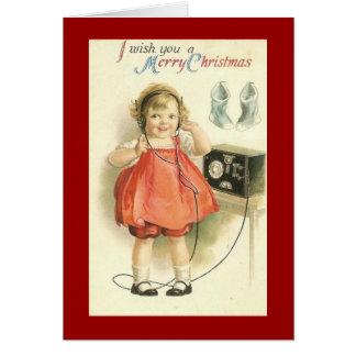 Vintage Telephone Girl Christmas Greeting Card