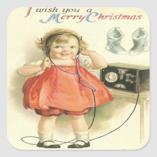 Vintage Telephone Girl Christmas Square Stickers