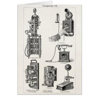 Vintage Telephones Illustration Phone Retro Phones Stationery Note Card