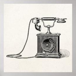 Vintage Telephones Illustration Phone Retro Phones Poster