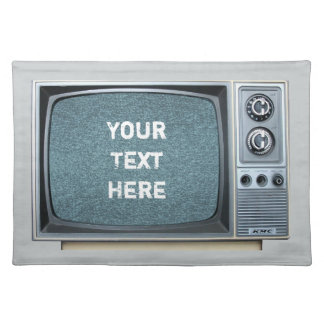 Vintage Television Set with Static Screen Cloth Place Mat