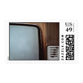 Vintage television with dials postage stamps