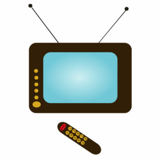 Vintage Television with Remote Standing Photo Sculpture