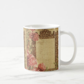 Vintage template,custom made,antique,floral,frame, classic white coffee mug