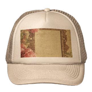 Vintage template,custom made,antique,floral,frame, trucker hat