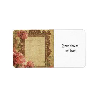 Vintage template,custom made,antique,floral,frame, address label