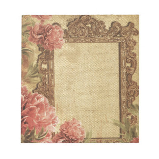 Vintage template,custom made,antique,floral,frame, note pads