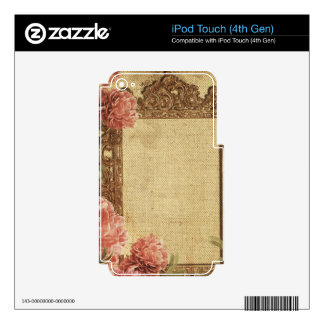 Vintage template,custom made,antique,floral,frame, decal for iPod touch 4G