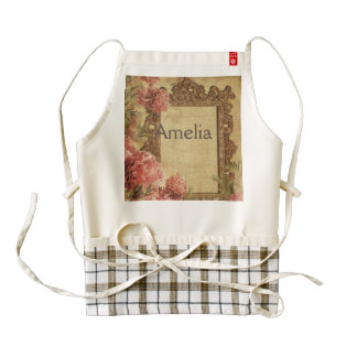 Vintage template,custom made,antique,floral,frame, zazzle HEART apron