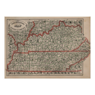 Vintage Tennessee and Kentucky Railroad Map (1883) Poster