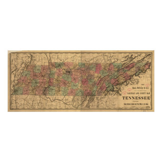 Vintage Tennessee Railroad Map (1888) Poster