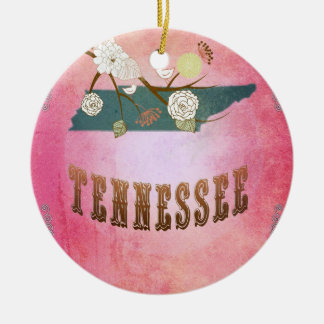Vintage Tennessee State Map- Candy Pink Ornaments