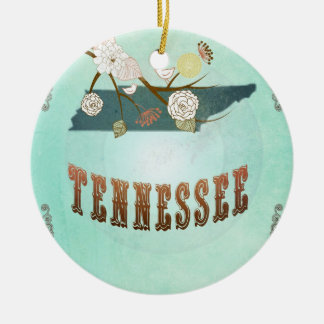 Vintage Tennessee State Map – Turquoise Blue Ceramic Ornament