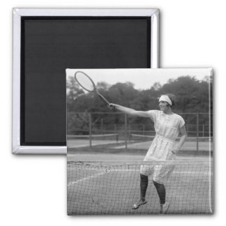 Vintage Tennis Outfit, 1920s 2 Inch Square Magnet
