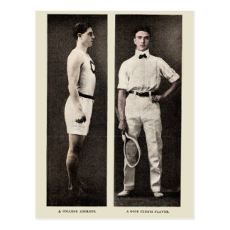 Vintage Tennis Player College Athlete Postcard
