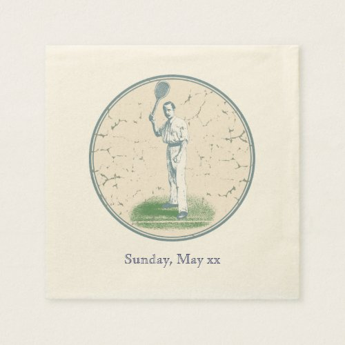 Vintage Tennis Player Paper Napkin