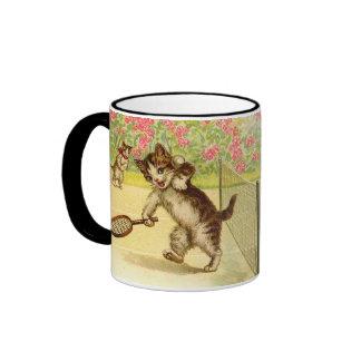 Vintage - Tennis Playing Cats Ringer Coffee Mug