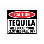 Vintage Tequila caution sign Post Card