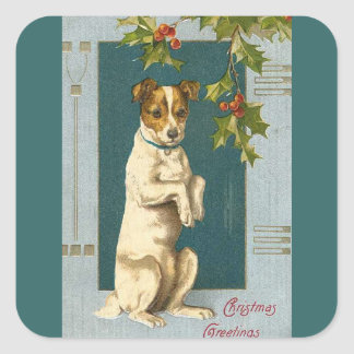 Vintage Terrier and Holly Square Sticker