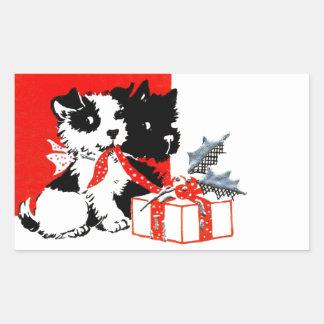 Vintage Terrier and Scotty Dog Rectangular Sticker