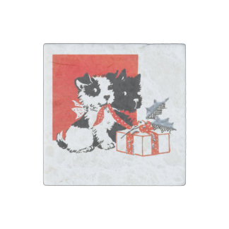 Vintage Terrier and Scotty with Gift Stone Magnet