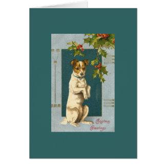 Vintage Terrier y acebo Tarjeta De Felicitación