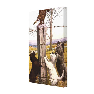 Vintage Terriers and Bobcat Wrapped Canvas Print
