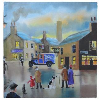 Vintage Tetley tea van street scene painting Cloth Napkin
