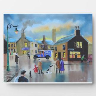Vintage Tetley tea van street scene painting Plaque