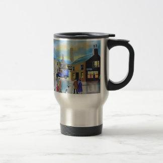 Vintage Tetley tea van street scene painting Travel Mug