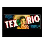 Vintage Tex Rio Tomatoes Label Postcard
