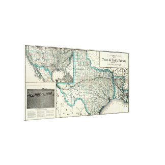Vintage Texas and Louisiana Railroad Map (1903) Canvas Print