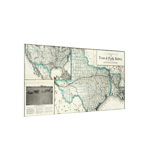 Map Of Texas And Louisiana Border.Vintage Texas And Louisiana Railroad Map 1903 Canvas Print