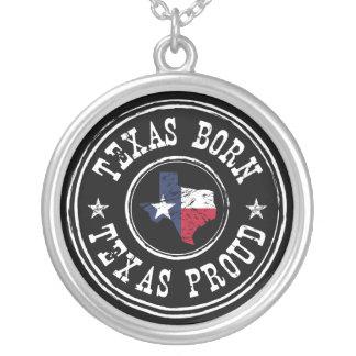 Vintage Texas born - Texas proud Round Pendant Necklace