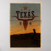 Vintage Texas Cowboy Travel Poster