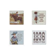 Vintage Texas Cowgirl Magnet Set