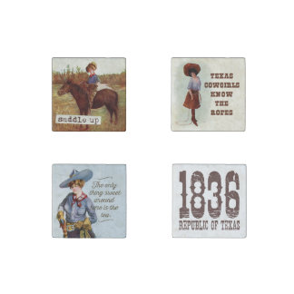 Vintage Texas Cowgirl Magnet Set