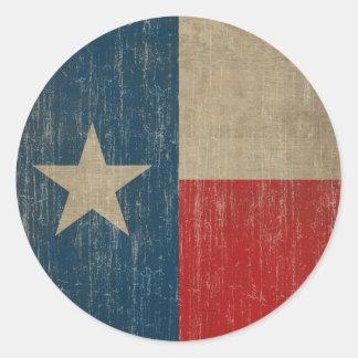 Vintage Texas Flag Classic Round Sticker