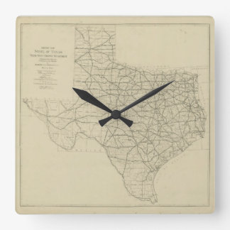Vintage Texas Highway Map (1919) Wall Clocks