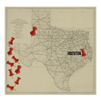 Vintage Texas Highway Map (1919) Map Marker Poster