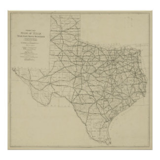 Vintage Texas Highway Map (1919) Poster