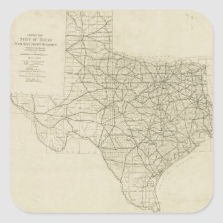 Vintage Texas Highway Map (1919) Square Sticker