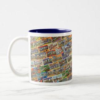 Vintage Texas Postcard Mug in Blue