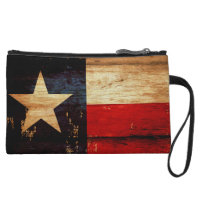 Vintage Texas State Flag in Rustic Wooden Grunge