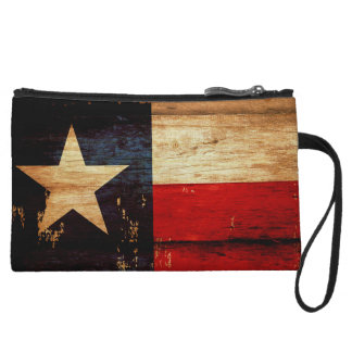 Vintage Texas State Flag in Rustic Wooden Grunge Wristlet Wallet